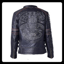 Load image into Gallery viewer, Genuine Cow Skin Skull Leather Motorcycle Jacket Men's Leather Jackets Men Motor Biker Jacket Male Leather Coat