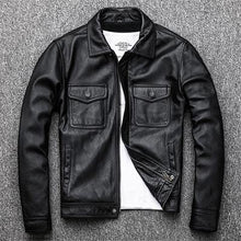 Load image into Gallery viewer, Black Real Leather Jacket Men 100% Natural Calf Skin Red Brown Leather Jackets Men's Leather Coat Autumn