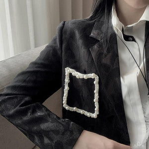 Women Street Wear Style Print Women Blazers Notched Long Sleeve Loose Patchwork Pearls Asymmetrical Blazer Coat