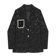 Load image into Gallery viewer, Women Street Wear Style Print Women Blazers Notched Long Sleeve Loose Patchwork Pearls Asymmetrical Blazer Coat