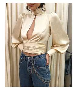 women's long sleeve halter neck top sexy hanging neck Backless blouse lady solid color blouse shirt