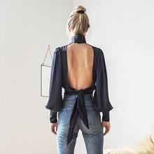 Load image into Gallery viewer, women's long sleeve halter neck top sexy hanging neck Backless blouse lady solid color blouse shirt