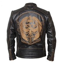 Load image into Gallery viewer, Vintage Motorcycle Jacket Men's Leather Jacket Cowhide Black Skull Genuine Leather Jacket Men Biker Coat Winter