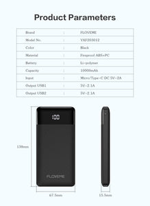 Power Bank 10000mAh Portable Phone External Battery Charger Dual USB Charging Powerbank for iPhone Xiaomi PoverBank