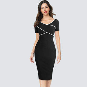 Women's summer Elegant Patchwork Slim Casual Work Business Office Party Fitted Bodycon Dress - moonaro
