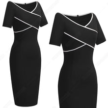 Load image into Gallery viewer, Women's summer Elegant Patchwork Slim Casual Work Business Office Party Fitted Bodycon Dress - moonaro