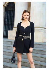 Women Office blazer Elegant Long Sleeve Button slim Mini Dress Blazer Ladies Solid Blazer - moonaro