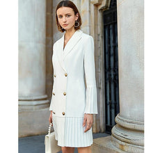 Load image into Gallery viewer, Elegant pleated women office long blazer white blazer long sleeve chic female party Blazer - moonaro