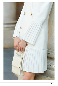 Elegant pleated women office long blazer white blazer long sleeve chic female party Blazer - moonaro