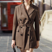 Load image into Gallery viewer, Vintage Women's Blazer Notched Long Sleeve High Waist Sashes Tunic Korean Long Coats
