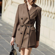 Load image into Gallery viewer, Vintage Women's Blazer Notched Long Sleeve High Waist Sashes Tunic Korean Long Coats - moonaro