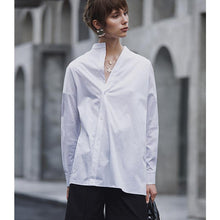 Load image into Gallery viewer, Women White Shirt Cotton with Long Sleeves in Women's Blouse Top Casual Women Loose Blouses