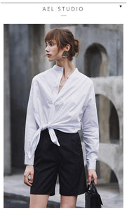 Women White Shirt Cotton with Long Sleeves in Women's Blouse Top Casual Women Loose Blouses