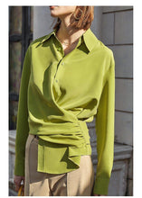 Load image into Gallery viewer, causal shirt women Light green blouse fashion streetwear ladies top fashion work wear tops