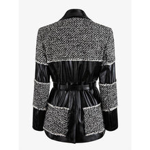 Load image into Gallery viewer, High QUALITY Runway Work Wear Designer Jacket Women's Leather Patchwork Tweed Jacket Workwear
