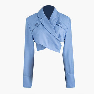 High QUALITY Cotton Corp Jacket Women's Crop Short Wrap Top Fashion Corp Jacket