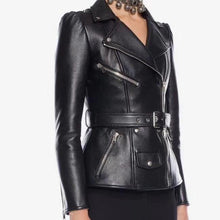 Load image into Gallery viewer, Jacket Women's Lacing Belt Removable Zippers Synthetic Leather Jacket Coat