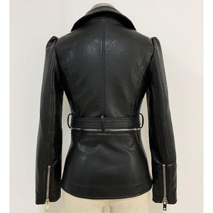 Jacket Women's Lacing Belt Removable Zippers Synthetic Leather Jacket Coat