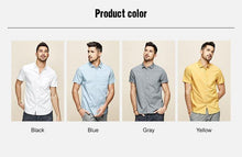 Load image into Gallery viewer, Men's shirt summer fashion simple pure color white blue slim shirt short sleeve  top