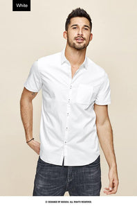 Men's shirt summer fashion simple pure color white blue slim shirt short sleeve  top