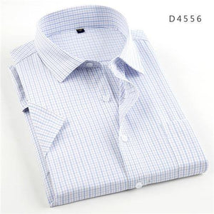 Summer short sleeve turndown collar easy care non-iron regular fit striped / Plaid business men casual shirts