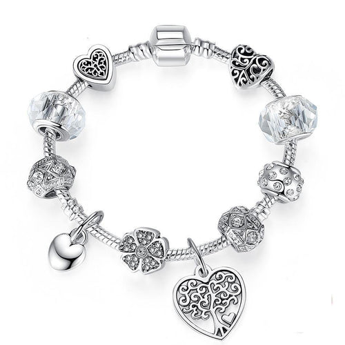 925 Antique Silver Crystal Charm Bracelet&Bangle With Murano Glass Bead Bracelet