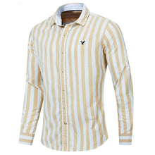 Load image into Gallery viewer, Autumn New Men Striped Shirt Casual Soical Long Sleeve 100% Cotton Shirts Tops - moonaro