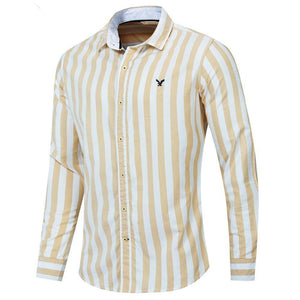 Autumn New Men Striped Shirt Casual Soical Long Sleeve 100% Cotton Shirts Tops