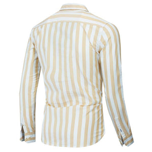 Autumn New Men Striped Shirt Casual Soical Long Sleeve 100% Cotton Shirts Tops - moonaro