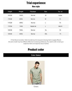 cotton spandex Men's short sleeve shirt summer  fashion leisure contracted  Tooling shirt green men top