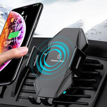 Load image into Gallery viewer, Qi Wireless Car Charger 10W Fast Charging for iPhone 11 XS X 8 Intelligent Infrared Car Wireless Charger Phone Holder