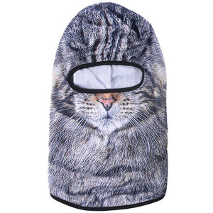 3D Animal Dog Cat Balaclava Cap Halloween Hats Bicycle Skiing Sports Protection Helmet Full Face Shield Windproof Men Women