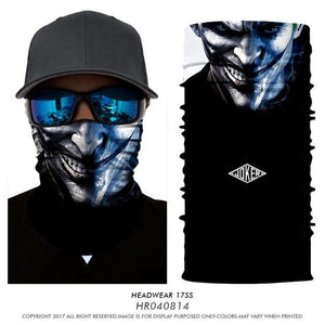 Magic bandana neck warmer Clown Joker Men Skull Ghost Shield Face Mask Headband Bandana Headwear Ring Head Scarf outdoors sport