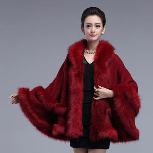 Spring Winter New Women's Fur Coat Double Decked Faux Fox Surround Fur Shawl Fashion Warm Poncho Cape Knitted Cardigan