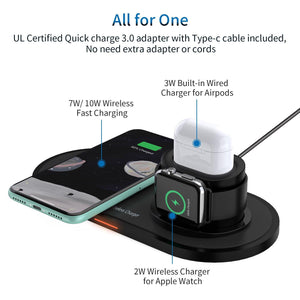 3 in1 Wireless Charger with Fast Adapter 15W Fast Wireless Charger Dock Station for iPhone Apple Watch AirPods Samsung