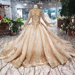 Luxury Wedding Dress high-neck shiny sequins lacing up back handmade appliques bridal dress wedding gown golden