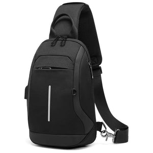 "Fashion Shoulder Bag Men for 9.7"" iPad Chest Packs with USB Charging Port Messenger Bag Waterproof Crossbody Bags Male"