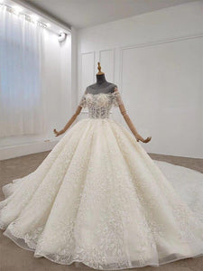 Off White Wedding Dress Flower Shape Bead Applique Wedding Dress Long Lace Up Ball Gown Short Sleeves