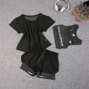 Women Yoga Sport Suit Bra Set 3 Piece Female Short-sleeved Summer Sportswear Running Fitness Training Clothing