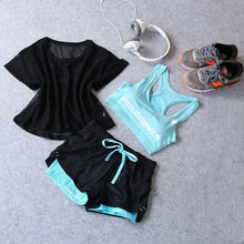 Load image into Gallery viewer, Women Yoga Sport Suit Bra Set 3 Piece Female Short-sleeved Summer Sportswear Running Fitness Training Clothing