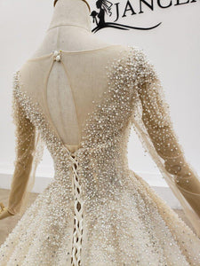Top Pearl Wedding Dress Real Hand Made Vintage Wedding Dress Under Dress With Pearl Wedding Gowns
