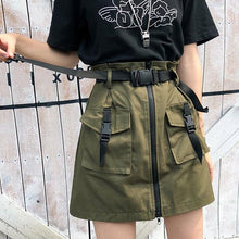 Load image into Gallery viewer, A Line Zipper Women Mini Skirts Pockets Sashes Bodycon Solid Ladies Short Skirt Sexy Black Khaki Skirt