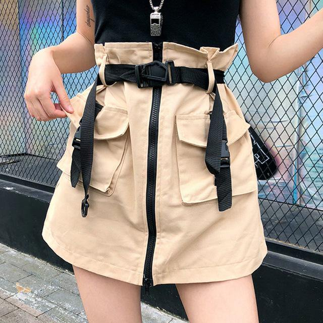A Line Zipper Women Mini Skirts Pockets Sashes Bodycon Solid Ladies Short Skirt Sexy Black Khaki Skirt