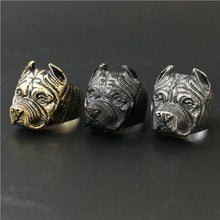 Load image into Gallery viewer, Size 7~14  Women Gold Silver Black Lovely Humman Friend Shar Pei Dog Ring 316L Stainless Steel Jewelry Newest Biker Ring