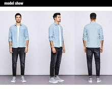 Load image into Gallery viewer, Autumn 100% Cotton Stripe Blue Shirt Men Dress Button Casual Slim Fit Long Sleeve For Male Fashion Brand Blouse