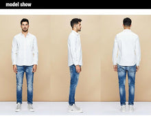 Load image into Gallery viewer, Spring Cotton Pocket Plain White Shirt Men Dress Button Casual Slim Fit Long Sleeve Male Casual Brand Clothes