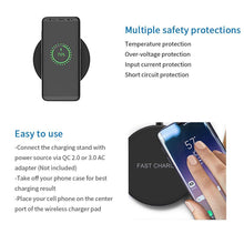Load image into Gallery viewer, 5W/7.5W/10W Qi Fast Wireless Charging for Samsung Xiaomi Huawei Fast Wireless Charging Pad For iphone X 8 Plug QC3.0