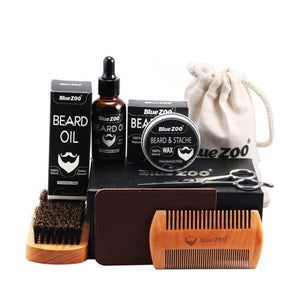 Beard Clean Set With Essential Shampoo Brush Comb Oil Cream for Men Makes Soft Cleanse Refresh and Nature Grooming kit