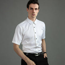 Load image into Gallery viewer, Summer Non-Iron Short Sleeve men dress shirt Elastic slim fit black button anti-wrinkle white blue social shirt male pockeless - moonaro