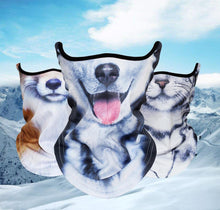 Load image into Gallery viewer, 3D Animal Neck Warmer Scarf Half Face Shield Bicycle Winter Snowboard Balaclava Halloween Party Cat Dog Panda Pig Wolf Windproof